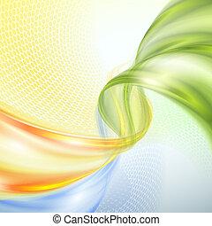 abstratos, verde amarelo, onda azul