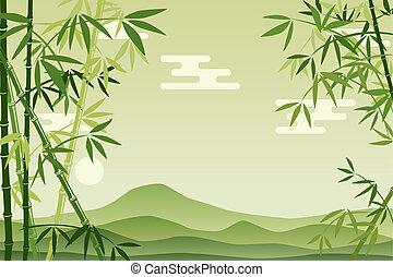 abstratos, verde, bambu, fundo