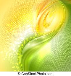 abstratos, verde, e, amarela, waving