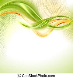 abstratos, verde, e, amarela, waving, fundo
