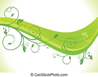 abstratos, verde, floral, onda