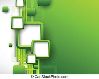 abstratos, verde, folheto