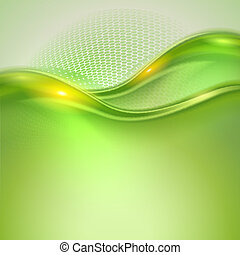 abstratos, verde, waving, fundo