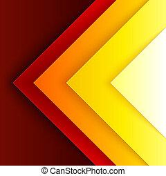abstratos, vermelho, e, triângulo alaranjado, formas, fundo