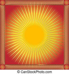 abstratos, vermelho, quadro, com, sol, (vector)