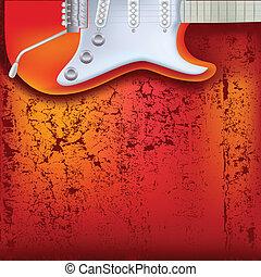 abstratos, vermelho, rachado, fundo, violão elétrico