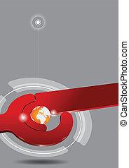 abstratos, vermelho, tech, fundo, com, globo