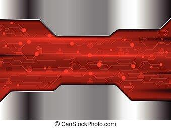 abstratos, vermelho, tecnologia, desenho, com, metálico, textura