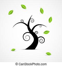 abstratos, vetorial, árvore, com, verde sai