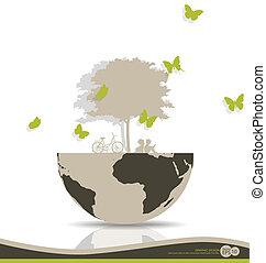abstratos, vetorial, árvore, globe., illustration.