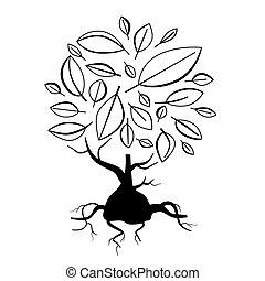 abstratos, vetorial, árvore, ilustração