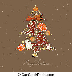abstratos, vetorial, árvore natal