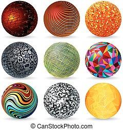abstratos, vetorial, 3d, spheres., desenho, concept.