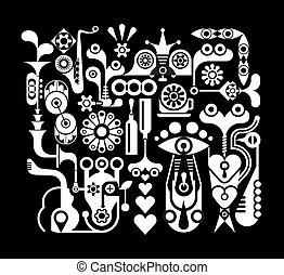 abstratos, vetorial, arte, ilustração