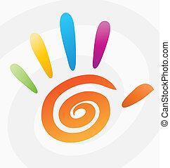 abstratos, vetorial, colorido, espiral, mão
