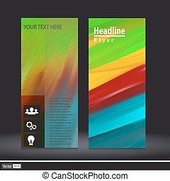 abstratos, vetorial, coloridos, acrílico, modelo, flyer., criativo, conceito, com, ícones