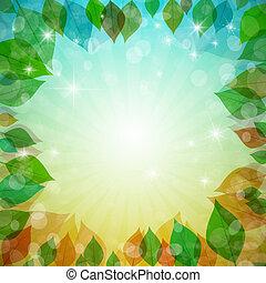 abstratos, vetorial, ct, vetorial, primavera, verão, outono, inverno, fundo, com, folhas