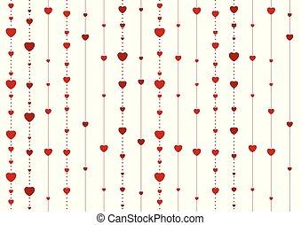 abstratos, vetorial, fundo, corações, branco vermelho