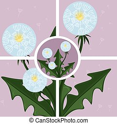 abstratos, vetorial, fundo, dandelion