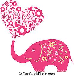 abstratos, vetorial, ilustração, elefante