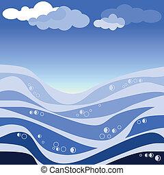 abstratos, vetorial, ilustração, mar