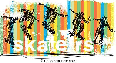 abstratos, vetorial, jumping., skateboarder, ilustração