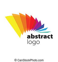 abstratos, vetorial, logotipo, espectro, curvado, folhas
