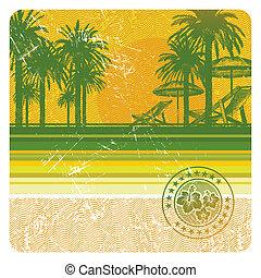 abstratos, vetorial, praia tropical, com, palmas, cadeira, e, guarda-chuva
