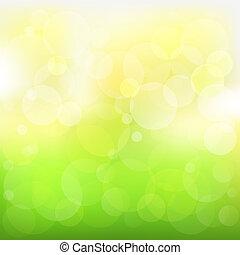 abstratos, vetorial, verde, e, fundo amarelo