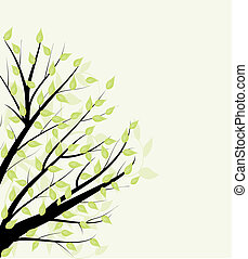 abstratos, vetorial, verde sai, floral, experiência.