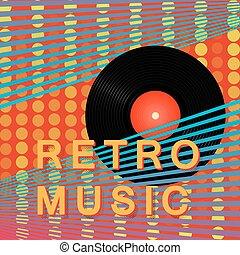 abstratos, vindima, retro, música, poster., a, vinil, record., modernos, cartaz, design., vetorial, illustration.