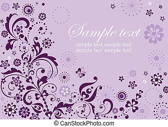 abstratos, violeta, cartão, visitando
