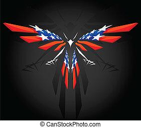 abstratos, voando, bandeira americana
