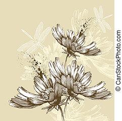 abstratos, voando, dr, flores, florescer