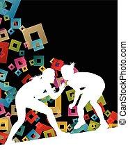 abstratos, wrestling, jovem, ilustração, grego, romana, vetorial, fundo, ativo, silhuetas, desporto, mulheres
