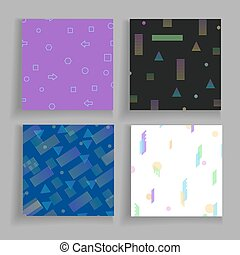 Abstrct geometry chaotic backgrounds set. Ready for covers, placards, posters, flyers and banner designs. Vector templates
