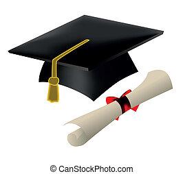 abstufung kappe, und, diplom