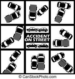 absturz, auto, zwei, zeichen, farben, ton