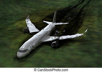 absturz, motorflugzeug, bild, 3d