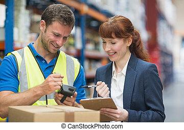 abtastung, manager, arbeiter, paket