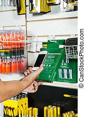 abtastung, product's, cellphone, barcode, durch, hände