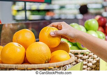 abteilung,  orange, kaufmannsladen, Besitz,  Hand