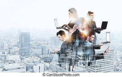 abtract, termes, partnership., collaboration, business, voile de surface, la plupart, équipe, gens, composition, important, work., concept