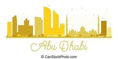 Abu Dhabi City skyline golden silhouette.