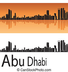 Abu Dhabi skyline in orange background in editable vector...