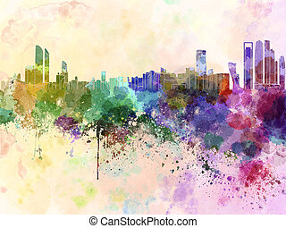 Abu Dhabi skyline in watercolor background