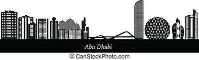 abu dhabi skyline landmark illustration black and white