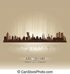 Abu Dhabi UAE city skyline vector silhouette