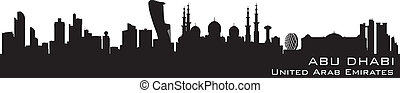 Abu Dhabi UAE skyline Detailed vector silhouette