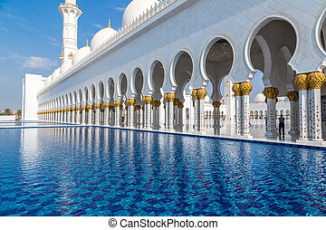 ABU DHABI, UAE - JUNE 11: The Sheikh Zayed Grand Mosque,...